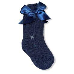 calzini in filo traforati con fiocco in raso